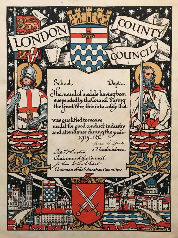 03 LCC Attendance Certificate 1915-16