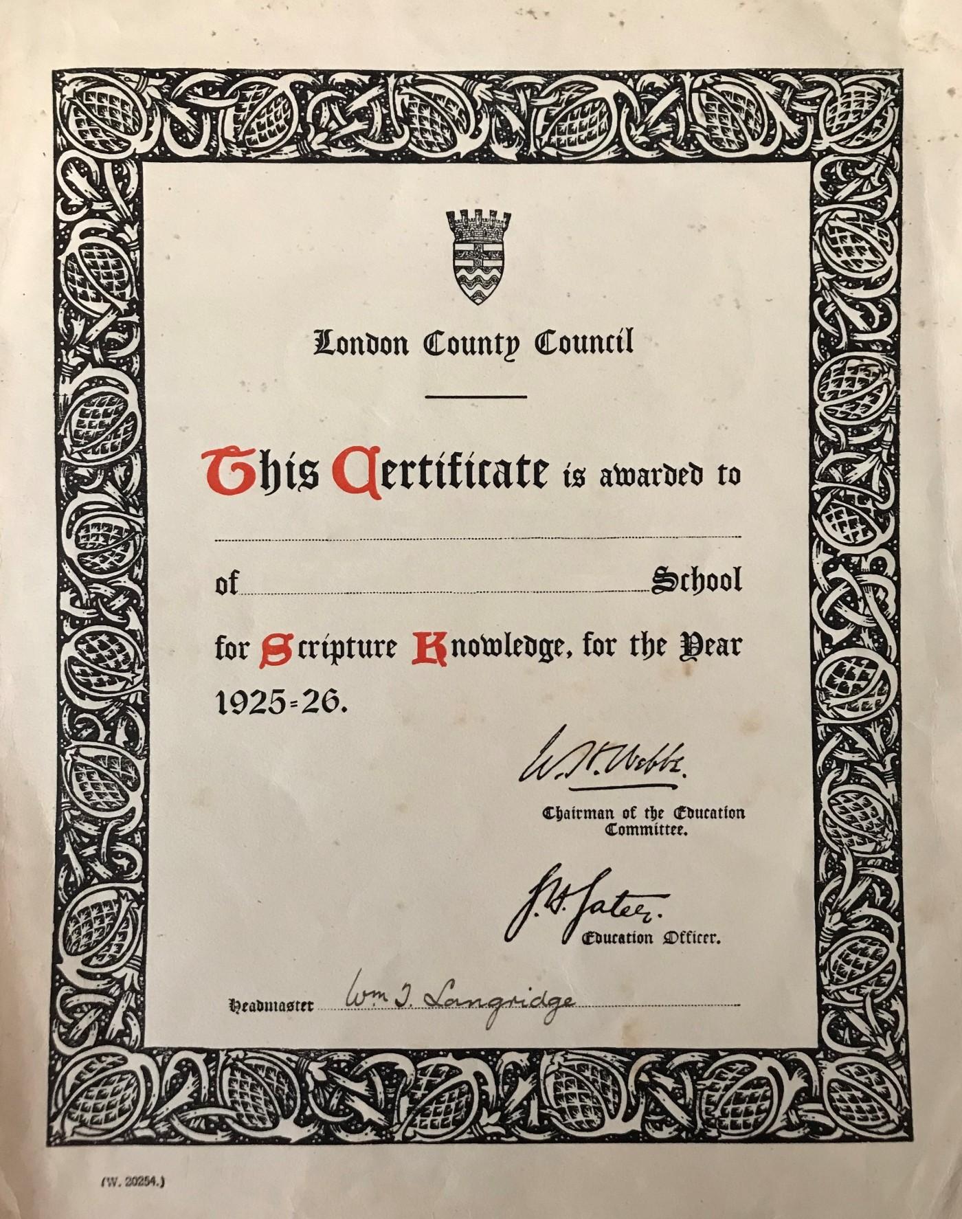 11 LCC Scripture certificate 1925-26