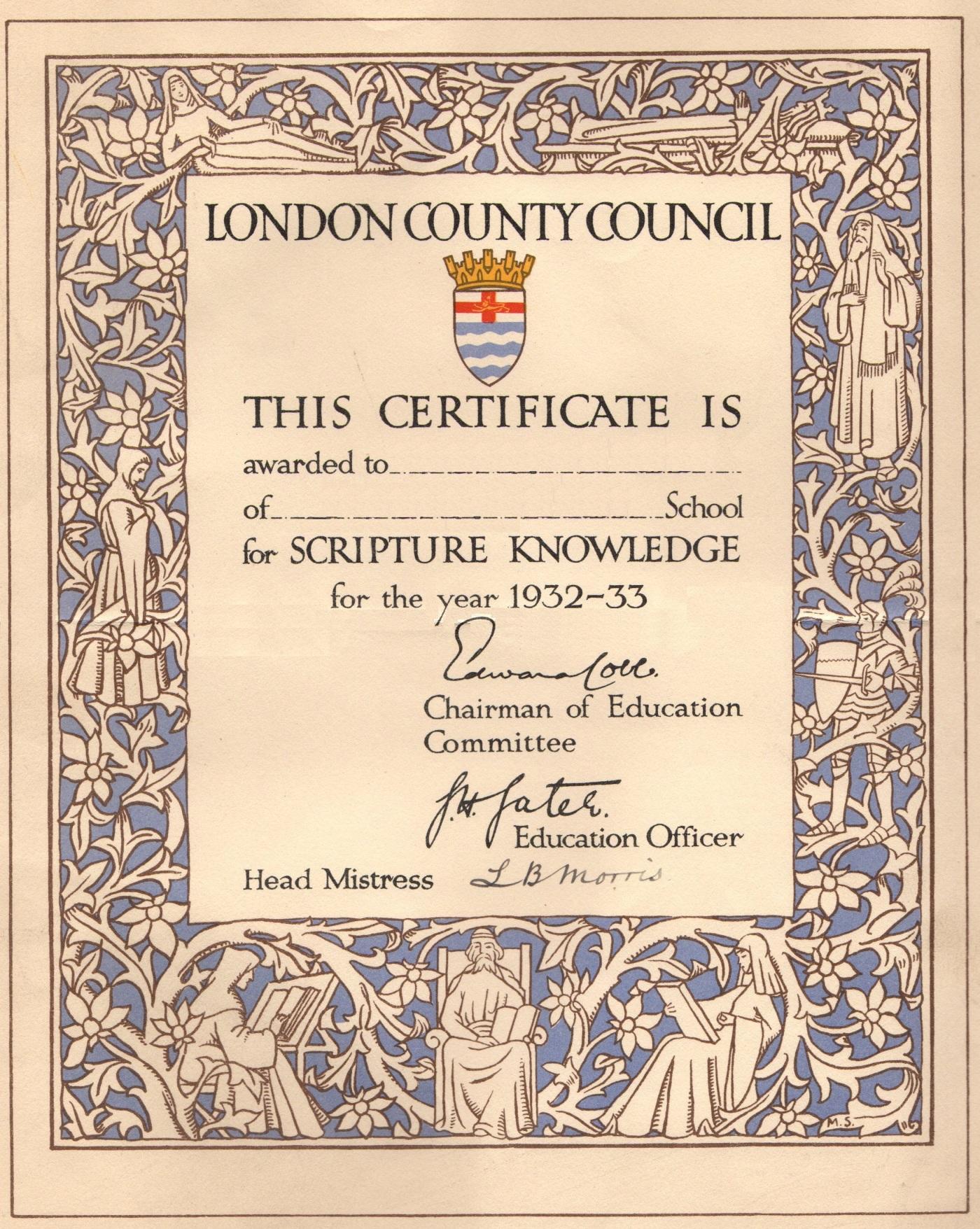 12 LCC Scripture certificate 1932-33