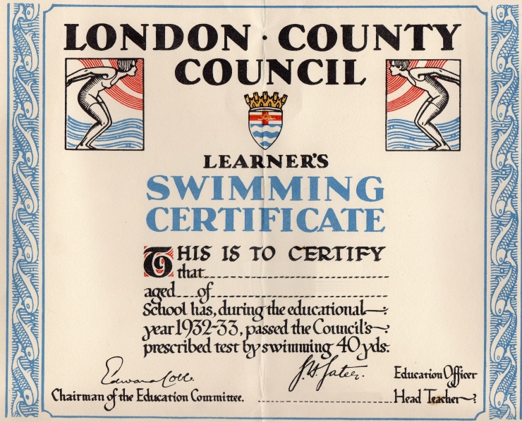 13 LCC Swimming Certificate 1932-33