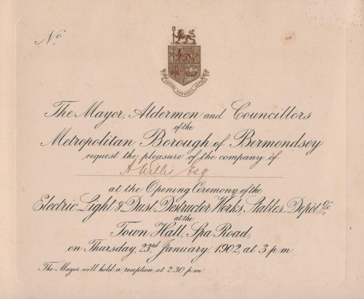 1902 Bermondsey invite