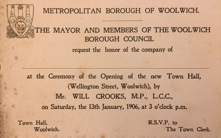 1906 Woolwich Town Hall Invite