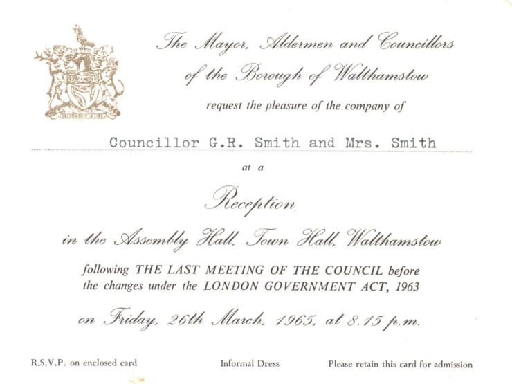 1965 Walthamstow invite